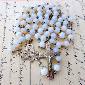 Antique French, Opalescent Rosary, Hallmarked Silver, SHIPPING INCLUDED