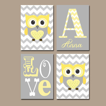 Yellow Gray Nursery Prints Owl Baby Wall Art Bedroom