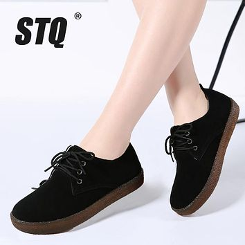 STQ 2017 Autumn women sneakers oxford shoes casual flats shoes women leather suede boat shoes round toe flats moccasins 808