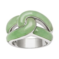 Sterling Silver Jade Knot Ring (Green)