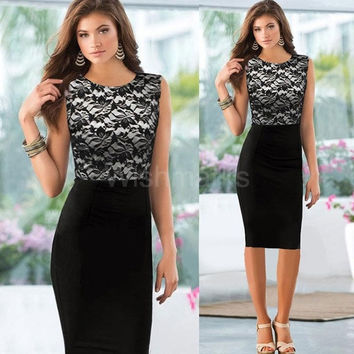 Sexy Fashion Women New Dress Floral Lace Patchwork Color Block Sleeveless Elegant Pencil Dress Black G0932|42201 = 1946151300