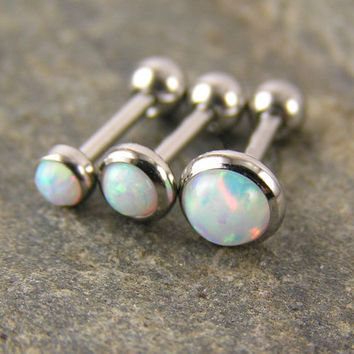 "Gorgeous set of 3 White Fire Opal Triple Helix Barbells Studs 18g gauge 3mm 4mm 5mm 1/4"" .25 inch Cartilage Tragus Piercing Jewelry"