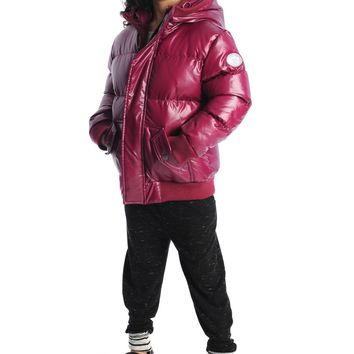 Appaman Girls' Deep Fuchsia Sparkle Puffy Down Coat