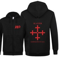 Speed Metal Band Slayer Hoodie Autumn Winter Fleece Zipper Hooded Slayer Men Sweatshirts Fashion Hot Sale Men Coats