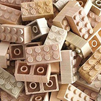 Mokulock Wooden Building Blocks, 48 Pieces