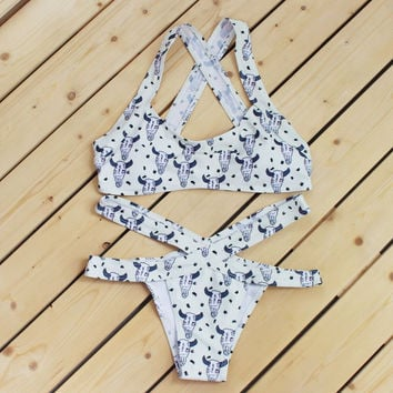 Cow print Bull white color  two piece bikini and bottom cross hollow swimsuit
