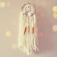 Small Boho Dreamcatcher -  White Dream Catcher - Made To Order - Bohemian Bedroom Decor - Floral Dream Catcher - Gypsy Wall Hanging Decor