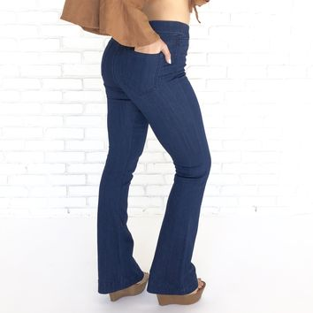 Bell Bottom Dark Blue Jegging Pants