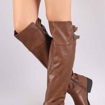 Qupid Buckled Strap Accent Riding Boots