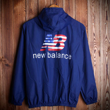 Fashion Unisex Lover's New Balance Sports Coat Windbreaker  NB Blue