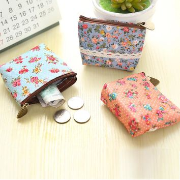 Cute Floral Print Coin Purse