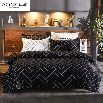XYZLS Black and White Geometric Bedding Set Polyester Duvet Cover Sets Soft Bed Linen Flat Bed Sheet Set Pillowcase