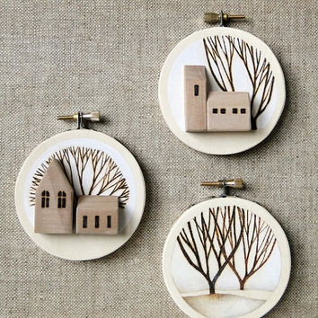 embroidery hoop art landscape tree by TheHauntedHollowTree on Etsy