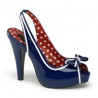 Bettie Navy Blue Patent Slingback Pump - Pin Up Couture by Pleaser USA from ShoeOodles