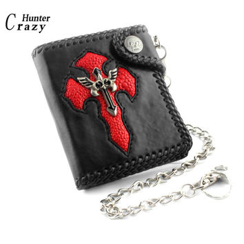 Trucker Punk Gothic Skull Cross Leather Wallet Purse With Key Chain