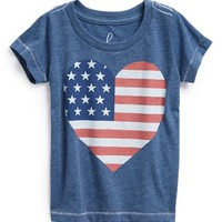 Peek 'Love America' Heart American Flag Screenprint Tee (Baby Girls)