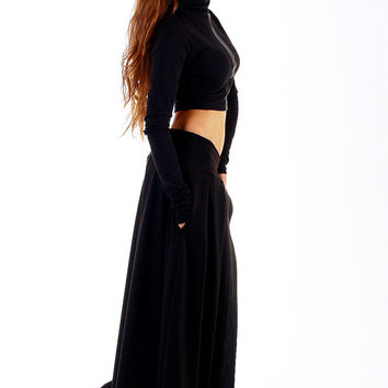 Black maxi skirt / Leather details skirt / Maxi skirt / Black vegan leather / Casual or evening style / Cotton long skirt
