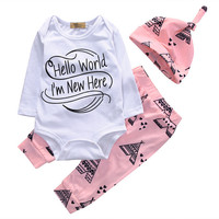 3 Pcs Newborn Baby Kids Girl Letter Outfit Infant  Babies New Kid Bodysuit Onesuit+Towel Pants+Hat Xmas Outfits Clothing Set