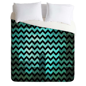 Madart Inc. Black Chevron Romantic Evening Duvet Cover