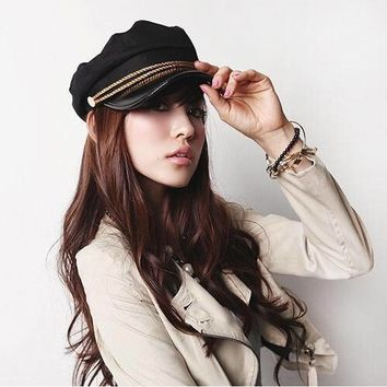 New Fashion Sailor Ship Boat Captain Military Hats Peaked Cap Black Baseball Caps Flat Hat for Women Berets