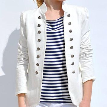Stand Collar Double Breasted Blazer
