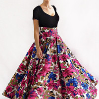 Maxi Skirt, Long Skirt, Floor length skirt, Floral skirt, Flower print skirt, Bridesmaid Skirt