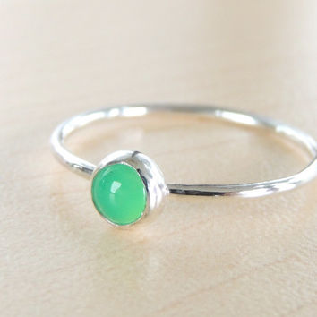 Chrysoprase vivid green Cabochon Ring with your choice of metal.  Glowing Chalcedony Mineral Green Ring. Made to order