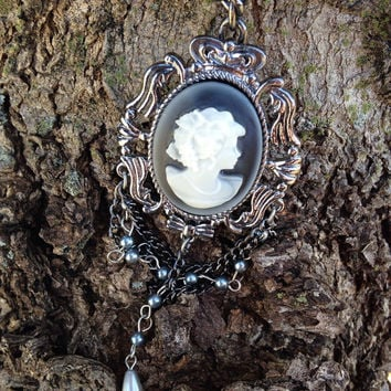 Victorian Style Statement Cameo Necklace