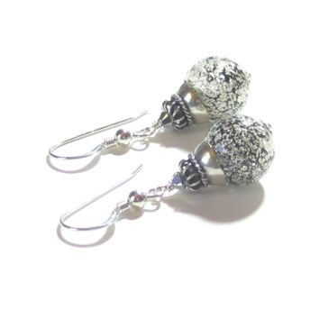 Murano Glass Black White Gold Ball Sterling Silver Earrings, Venetian Glass Jewelry