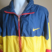 Vintage Nike Windbreaker Male / Female / Unisex Red, Blue & Yellow 2XL