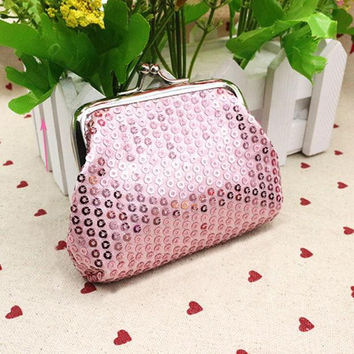 Small Sequin Pink Card/Coin Clutch