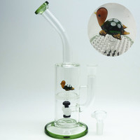 Femle Jiont Green Turtle Funny on Honeycomb Animal Water Bong Pipes Smoking Oil Rigs Smoking Accessories Filter Water Bongs