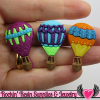 Jesse James Buttons 3 HOT AIR BALLoONS / Turn them Into Decoden Cabochons