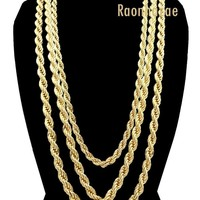 "Men Stainless Steel 14k Gold Plated 3 to7mm wide 20"" 24"" 30"" Rope Chain Necklace"