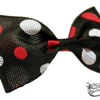 Polka Dot Hair Bow - Black, White, Red - Big - Pin Up, Rockabilly, Womens, Teens, Gifts Under 10, Gift Idea, Stocking Stuffer, Unique, Funky