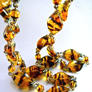 Czech Tiger Stripe Antique Necklace, Art Glass Beads Curve Twisted, 34 inches