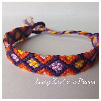 Purple Yellow Orange Diamond pattern Macrame Knotted Friendship Bracelet