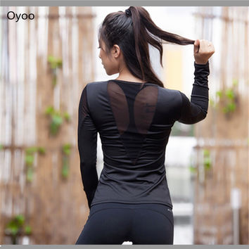 Sexy Back Long Sleeve Solid Mesh-panel Yoga Top Slimming Sweatshirt Women's Pink T Shirt Workout Tee