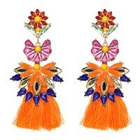 Poppy Floral Orange Tassels Earring - Floral Jewelry - Gift for Woman