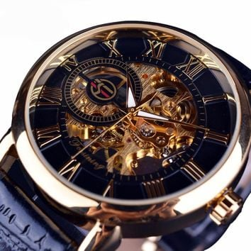 Hollow Engraving ~ Leather Band ~  Skeleton Mechanical Watch