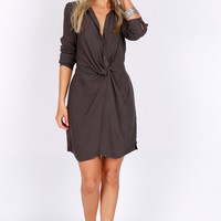 Button Up Twist Dress Charcoal