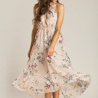 Aurora Blush Floral Halter Dress