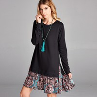 Contrast Hem Sweatshirt Dress