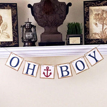 Oh Boy Banner, Nautical Theme Baby Shower, It's a Boy, Boy Baby Shower, Blue Anchor Banner, Nursery Decoration