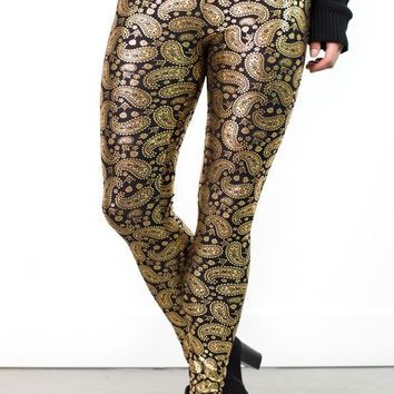 Metallic Paisley Leggings