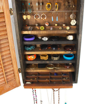 Wall mounted rustic Jewelry organizer ... handmade by TangleandFold