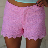 She's So Sweet Lace Shorts: Pink | Hope's