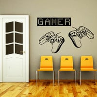 Wall Decal Vinyl Sticker Decals Art Home Decor Design Murals Game Controllers Gamer Gaming Video Game Boy Room Nursery Bedroom Dorm AN474
