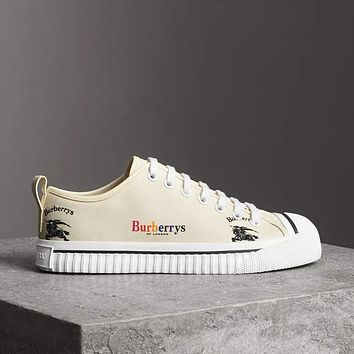 Burberry LF Kingly Arc Canvas Low-Top Sneakers ¡°Beige¡± NMS18 X47SA