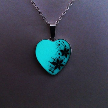 Aqua Glowing Necklace, Glowing Jewelry,  Glow in the Dark Heart, Glowing Pendant, Gifts for Her, hand painted OOAK